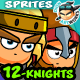 12- Knights Character Sprites - GraphicRiver Item for Sale