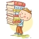 Little Boy Carrying a Pile of Books