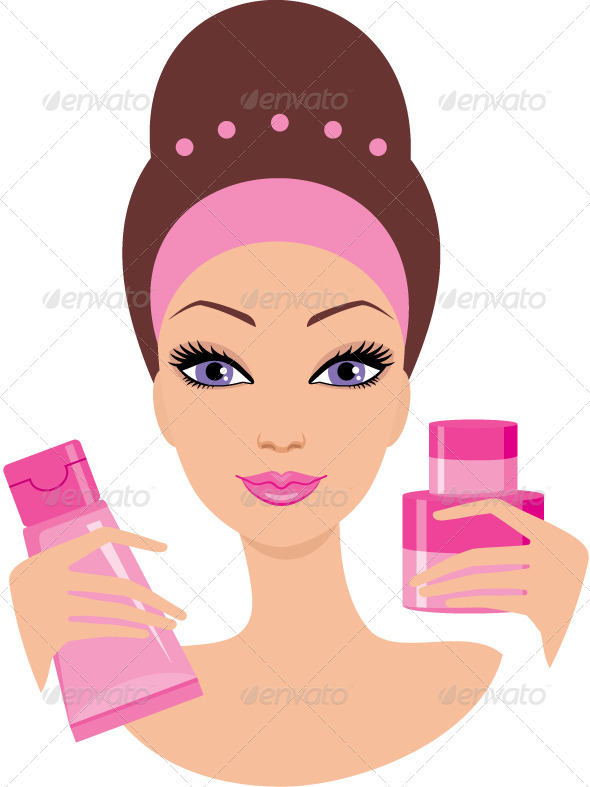 Beautiful young woman with a cosmetics set - Conceptual Vectors