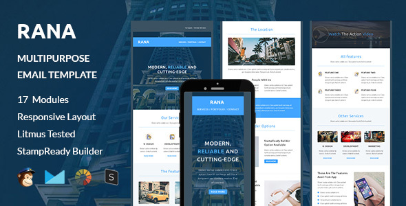 RANA – Multipurpose Responsive Email Template + Stampready Builder