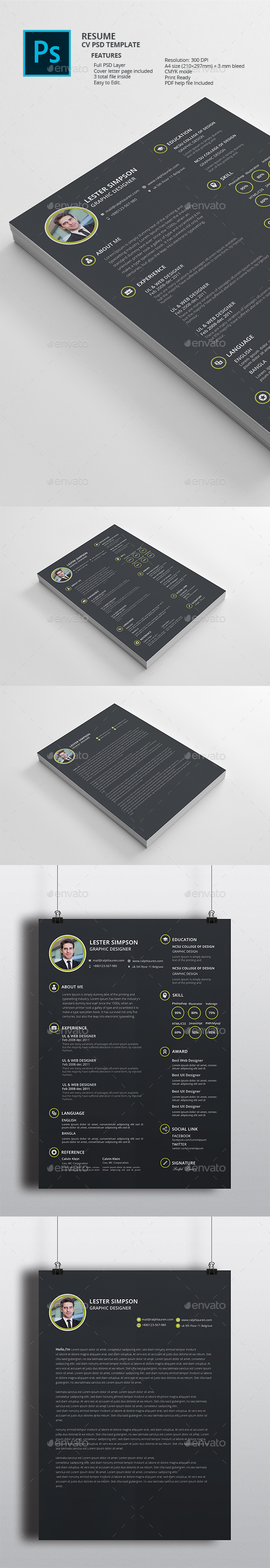 Resume cv black  - Resumes Stationery