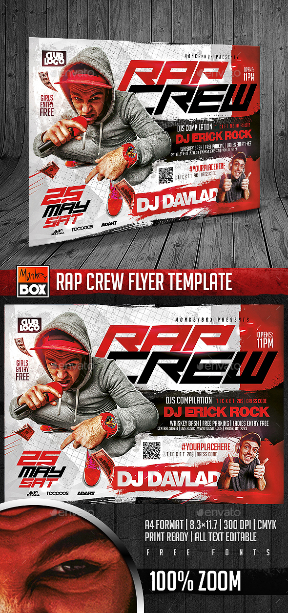 rap crew flyer template by monkeybox graphicriver