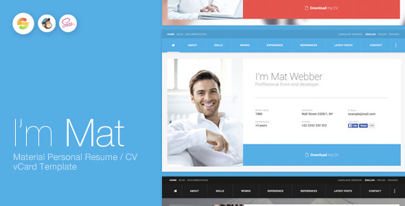 I'm Mat – Material Personal Resume / CV vCard Template