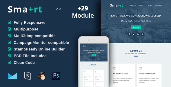 Smart – Multipurpose & Responsive Email Template + Builder