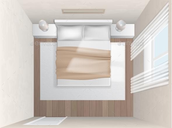 top view bedroom with beige walls by belander