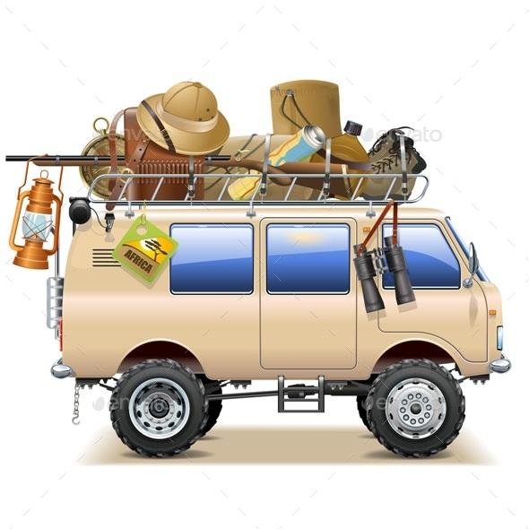 Travel Car with Safari Accessories - Travel Conceptual