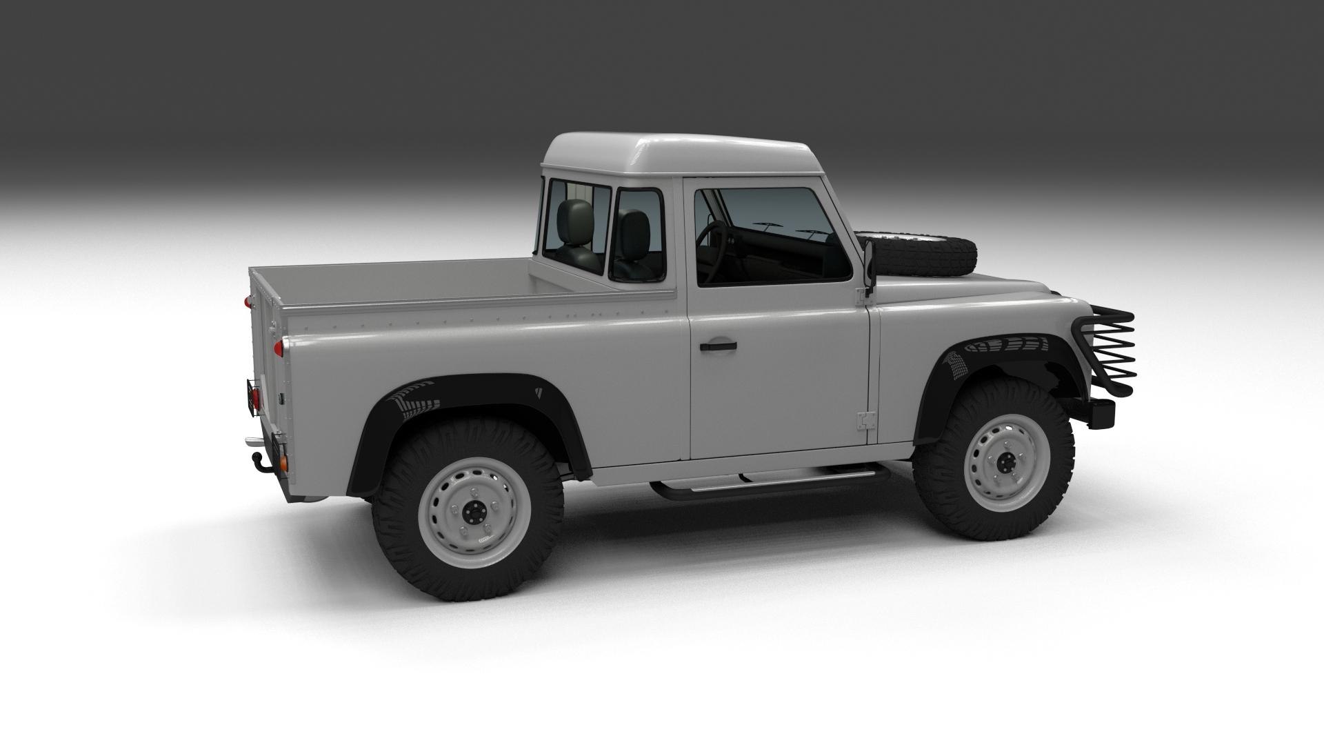 land rover defender 90 pick up w interior hdri by dragosburian 3docean. Black Bedroom Furniture Sets. Home Design Ideas