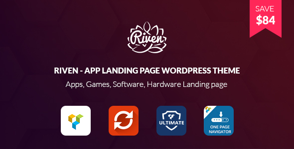 Riven – App Landing Page WordPress Theme