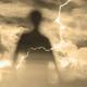 Ghost Silhouette And Lightning Storm - VideoHive Item for Sale