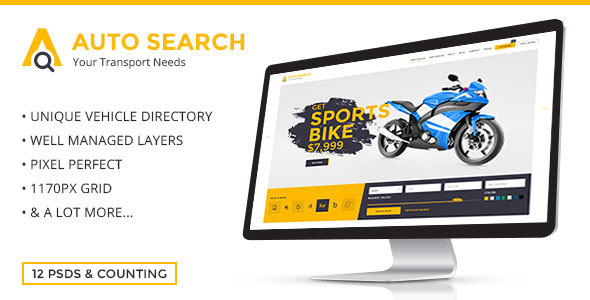 Auto Search – Modern PSD Template for Car and Auto Dealers