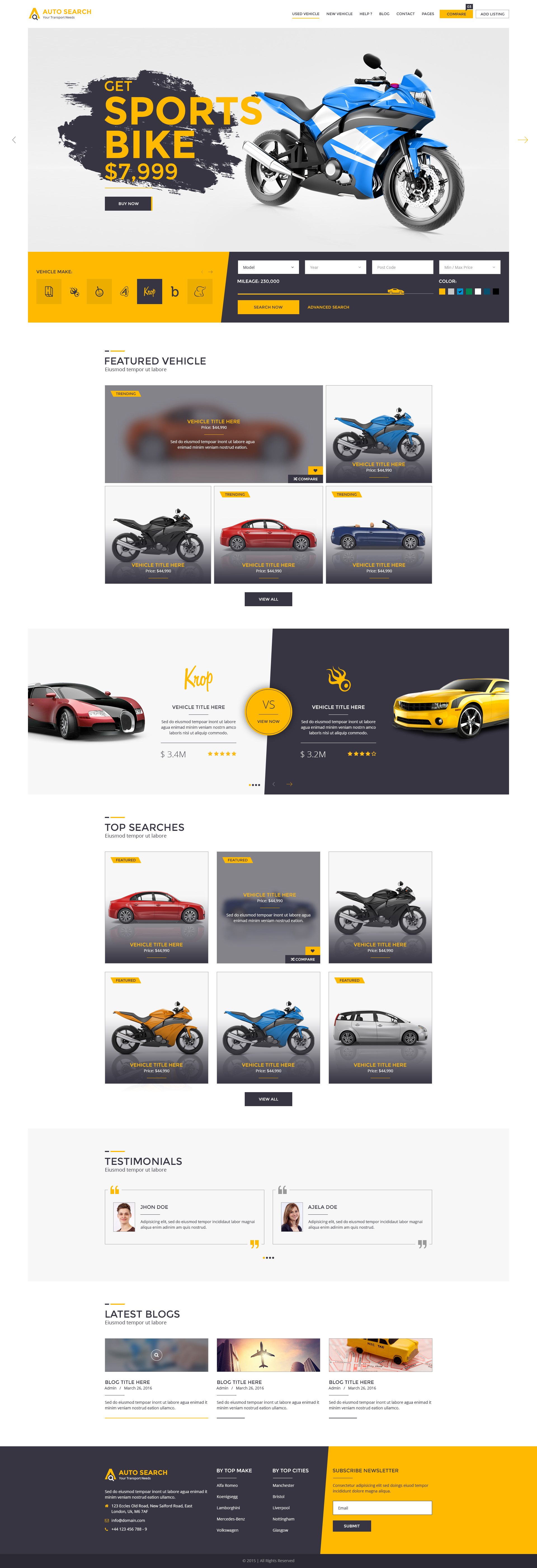 Auto Search Modern Psd Template For Car And Auto Dealers