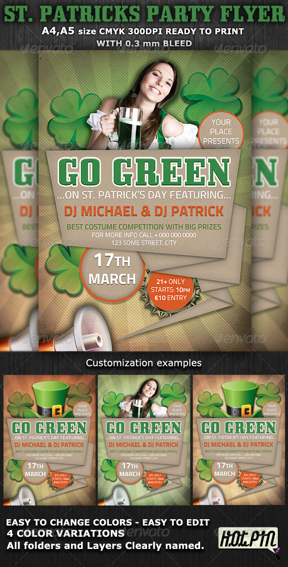 St. Patricks Party-Club Flyer Template v3 - Clubs & Parties Events