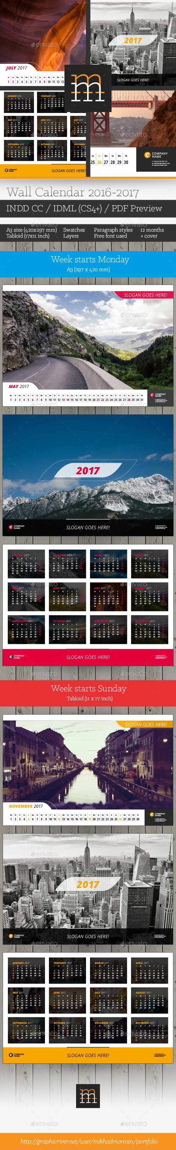 2016-2017 Wall Calendar - Calendars Stationery