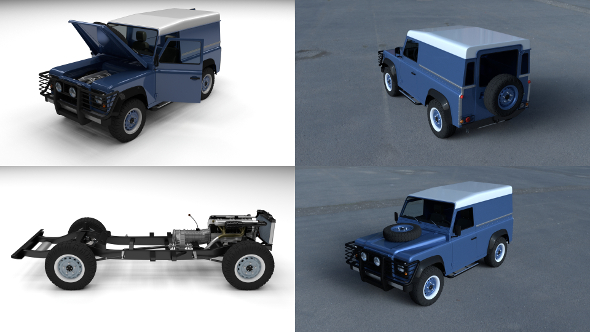 Full Land Rover Defender 90 Hard Top HDRI - 3DOcean Item for Sale