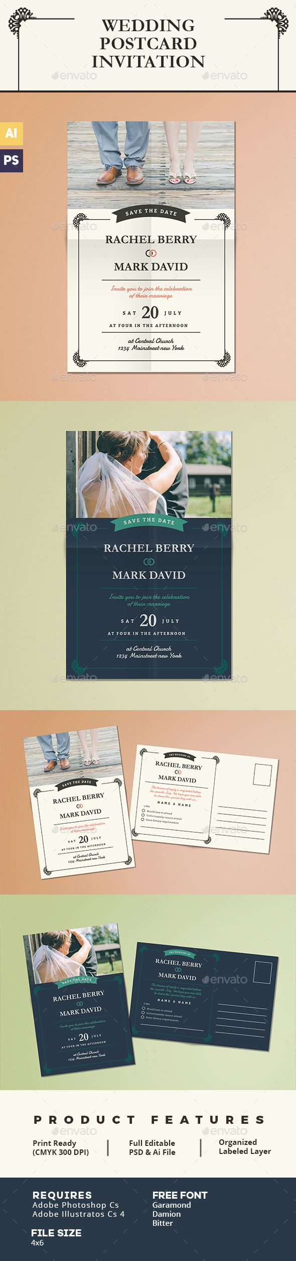 Elegant Wedding Postcard Invitation