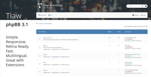 Download Tiaw - Classic Responsive phpBB 3.1 Theme nulled version