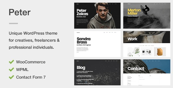 Peter – A Unique Portfolio Theme for Creatives, Freelancers & Professional Individuals
