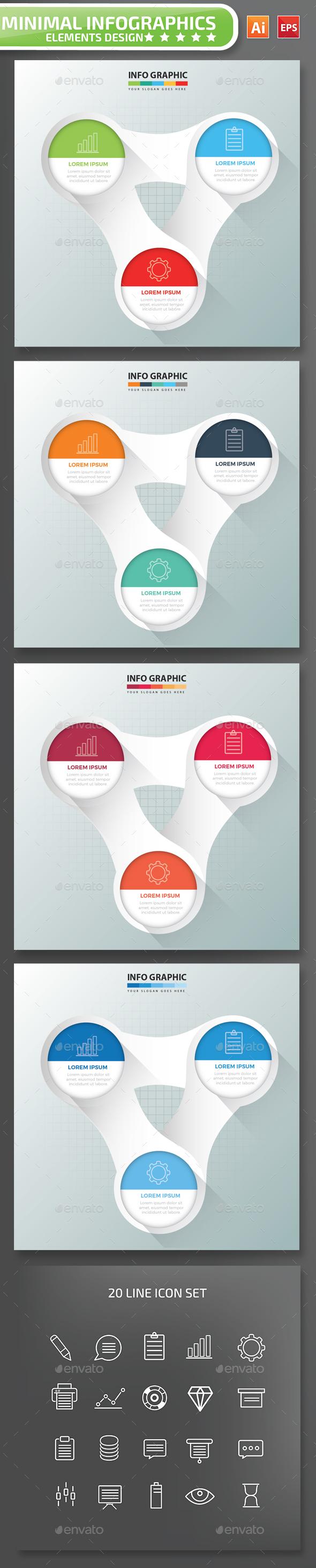 Minimal 3 step infographic Design