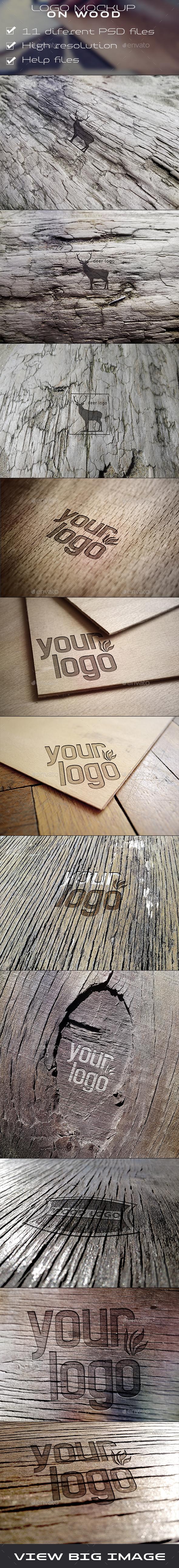 Engraved Wood Logo Mockups - Logo Product Mock-Ups
