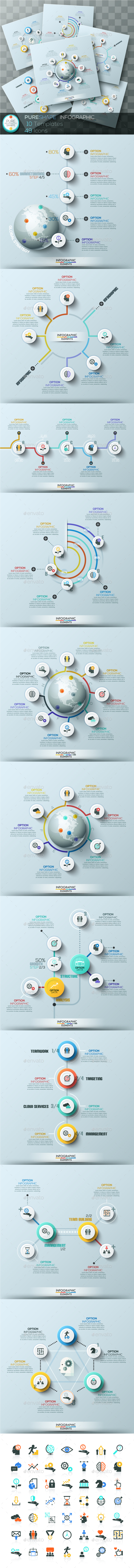 Pure Shape Infographic. Set 3 - Infographics