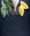 Tail of fresh raw Dorado or sea bream fish