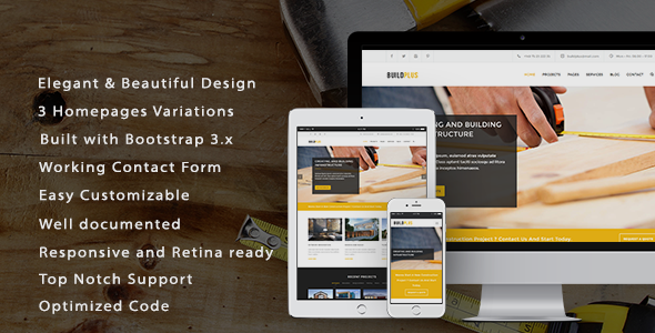 BuildPlus Responsive Construction and Renovation Template