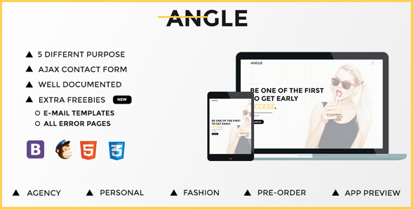Angle | Responsive Coming Soon Template - Under Construction Specialty Pages