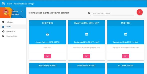 Mean Stack - Full Calender for events using Angularjs with Nodejs and MongoDB - CodeCanyon Item for Sale