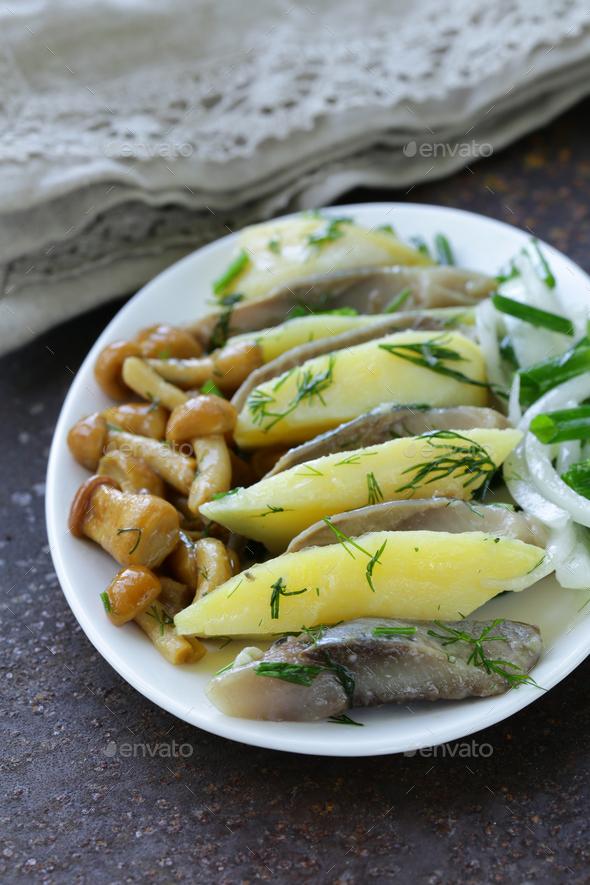 Appetizer Of Herring, Boiled Potato - Stock Photo - Images