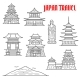 Japan Travel Landmarks Thin Line Icons