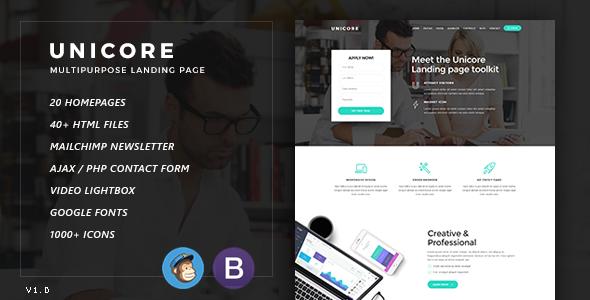 Unicore – Multipurpose Bootstrap Landing Page