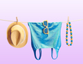 Beach outfit. Summer clothes set. Vacation
