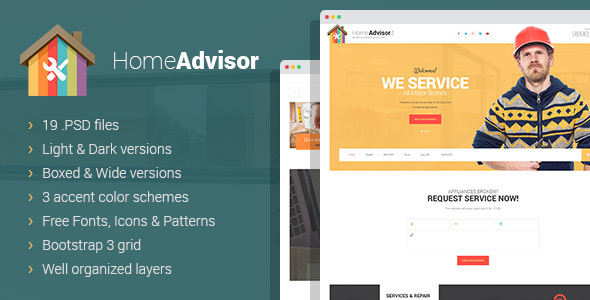 Home advisor – Appliance Repair PSD template