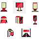Outdoor Advertising Red Style Flat Vector Icons - GraphicRiver Item for Sale
