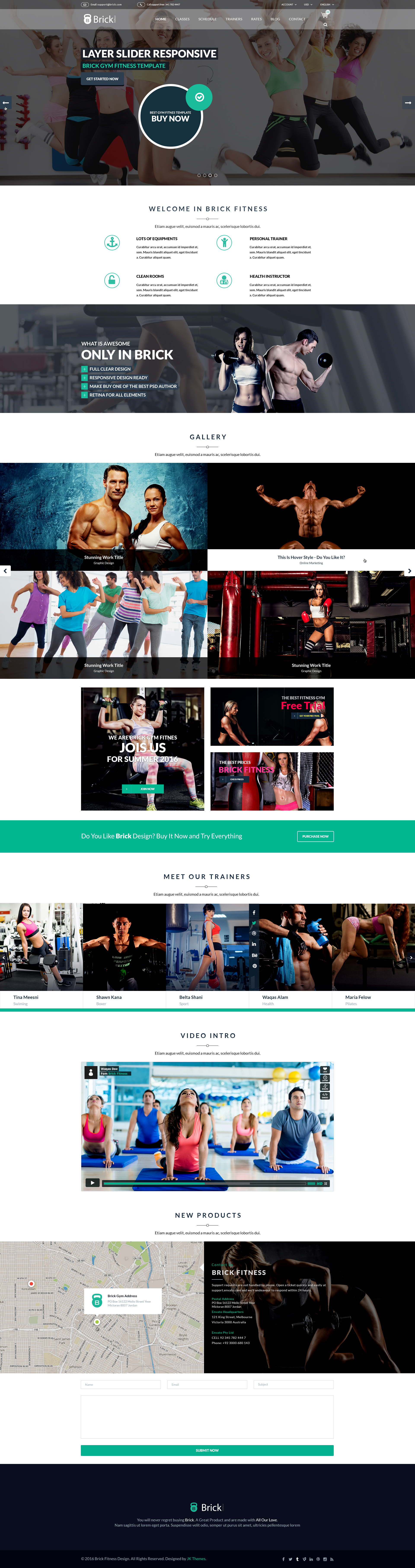 Brick Fitness PSD Template by thejkthemes | ThemeForest