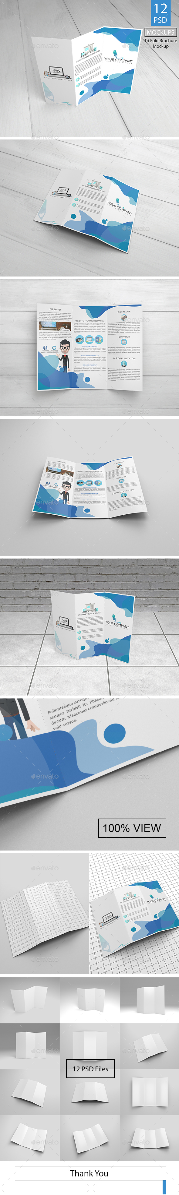 12 Trifold Brochure Mockup - Product Mock-Ups Graphics