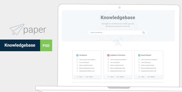 Paper - Product & Knowledgebase Template  - PSD Templates