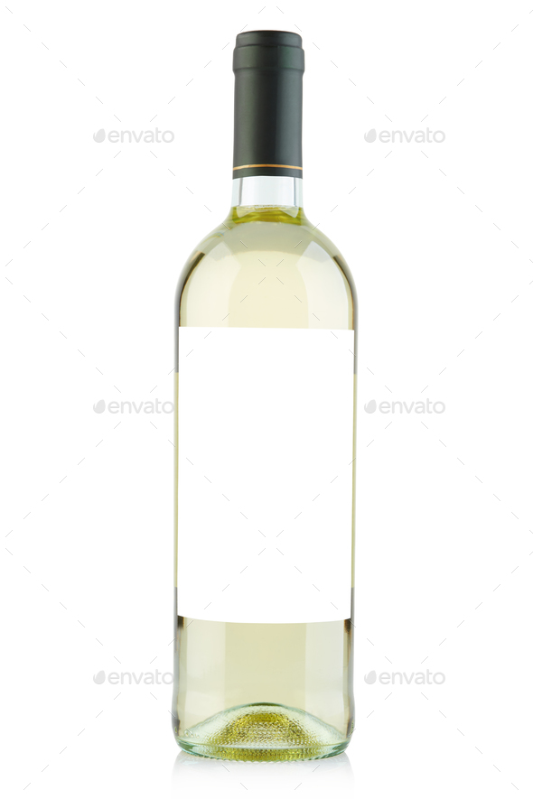 White wine bottle with blank label isolated on white, clipping p - Stock Photo - Images
