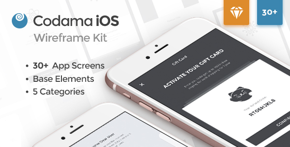 Codama iOS Wireframe UI Kit - Sketch Templates