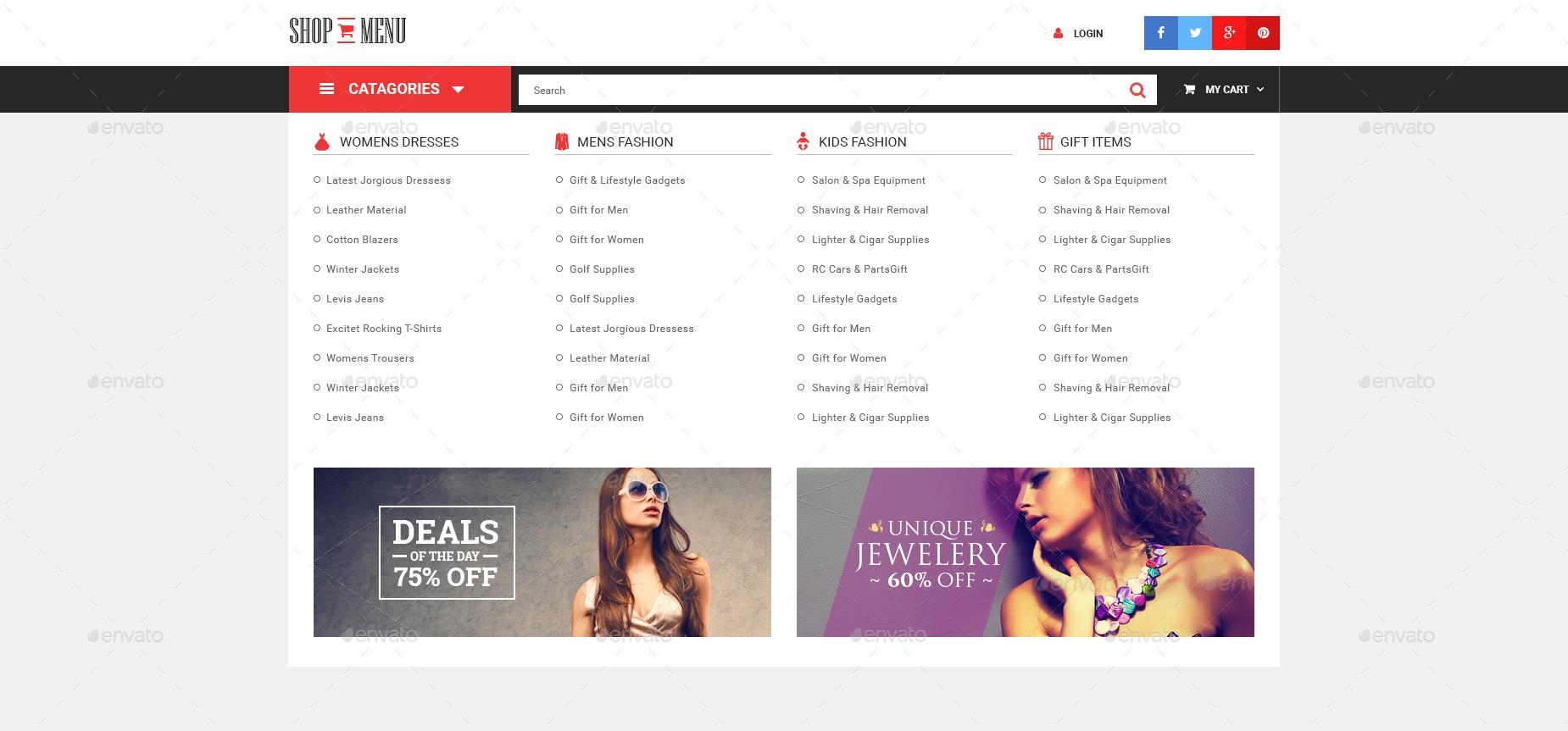 Shop Menu E Commerce Bootstrap Mega Menu Psd Template