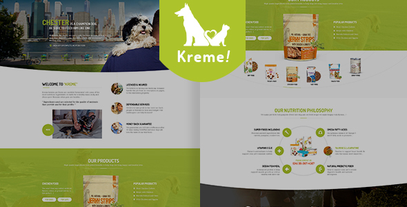 Kreme – Pet & Shop PSD Template