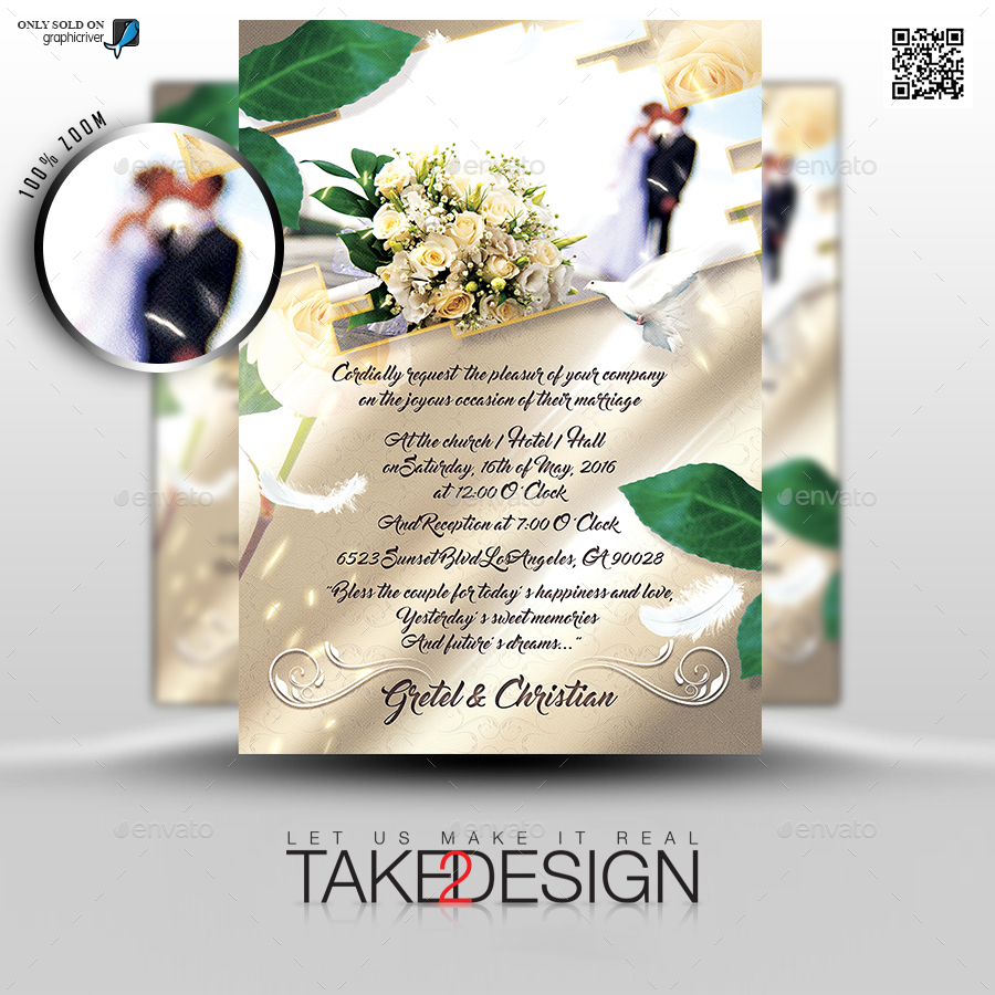 the wedding invitation flyer template by take2design graphicriver. Black Bedroom Furniture Sets. Home Design Ideas