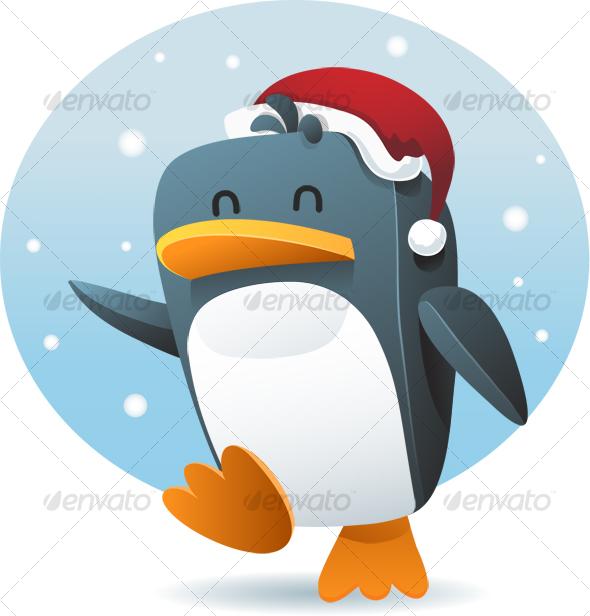 Penguin with santa hat - Animals Illustrations