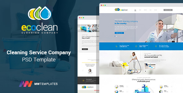 EcoClean – Cleaning company PSD Template