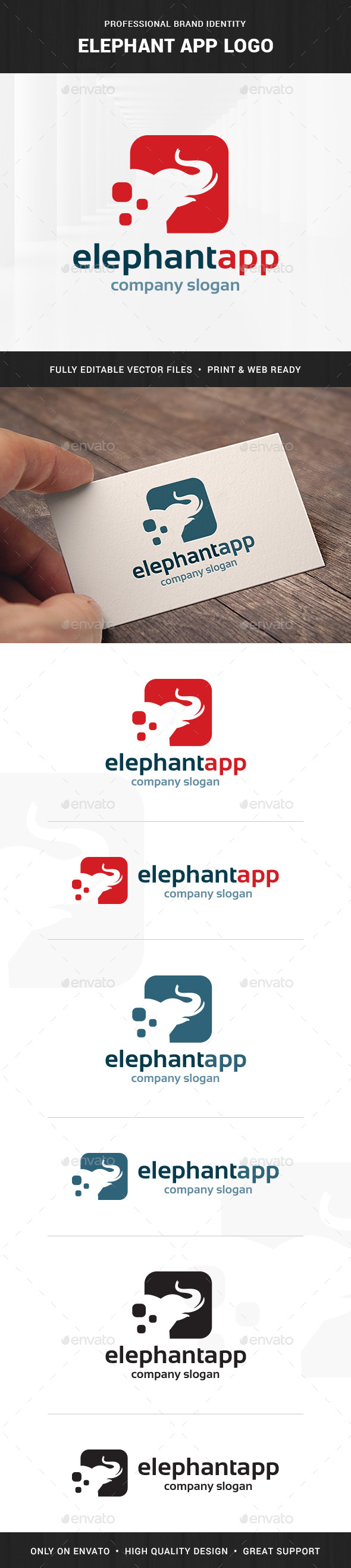 Elephant App Logo Template - Animals Logo Templates