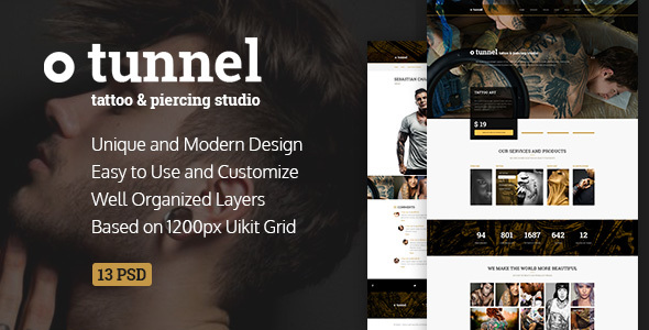 Tunnel — Modern Tattoo and Piercing Studio PSD Template - Retail PSD Templates