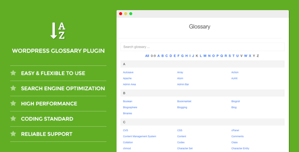 DW Glossary - WordPress Plugin - CodeCanyon Item for Sale