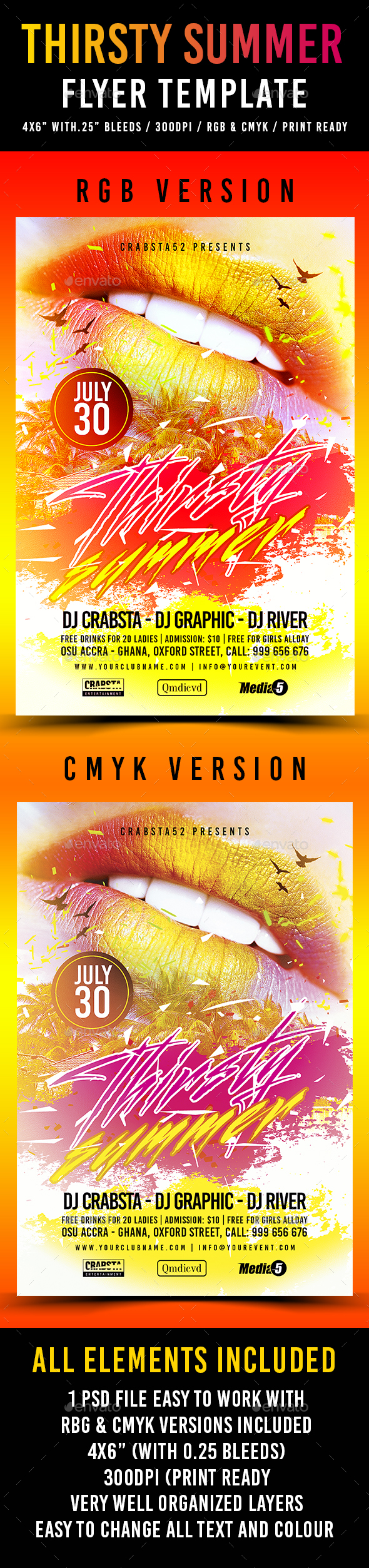 Thirsty Summer Flyer Template  - Flyers Print Templates