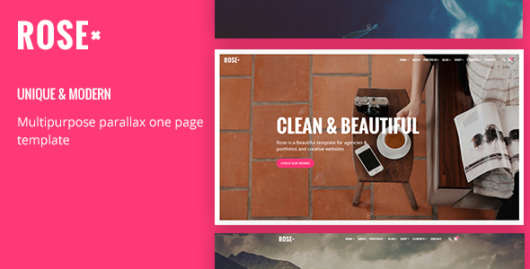 Rose – Responsive Multipurpose One page Template