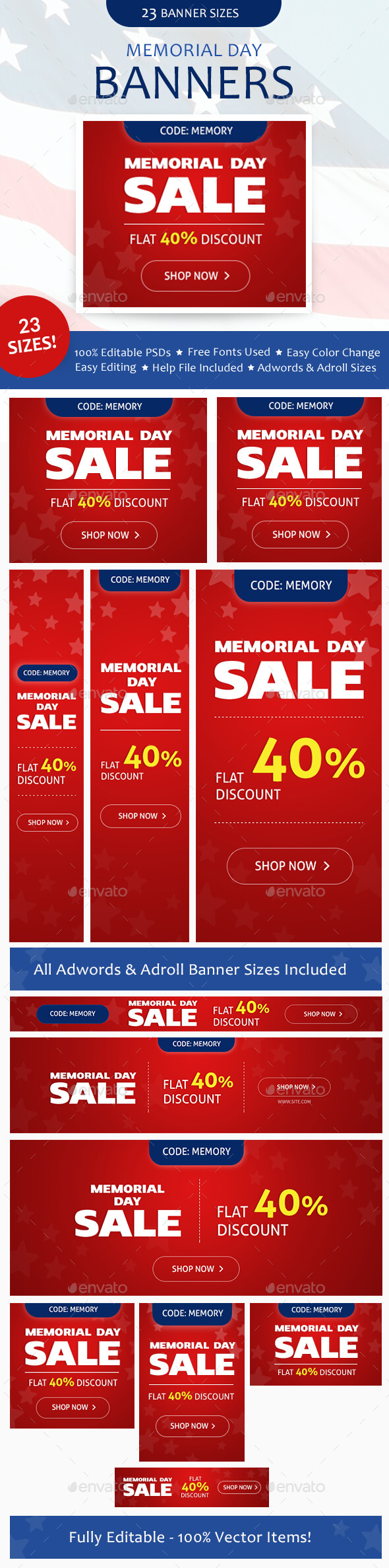 Memorial Day Banners Set - Banners & Ads Web Elements